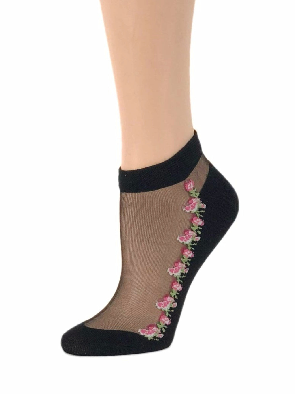 Pretty Pink Flowers Ankle Sheer Socks - Global Trendz Fashion®