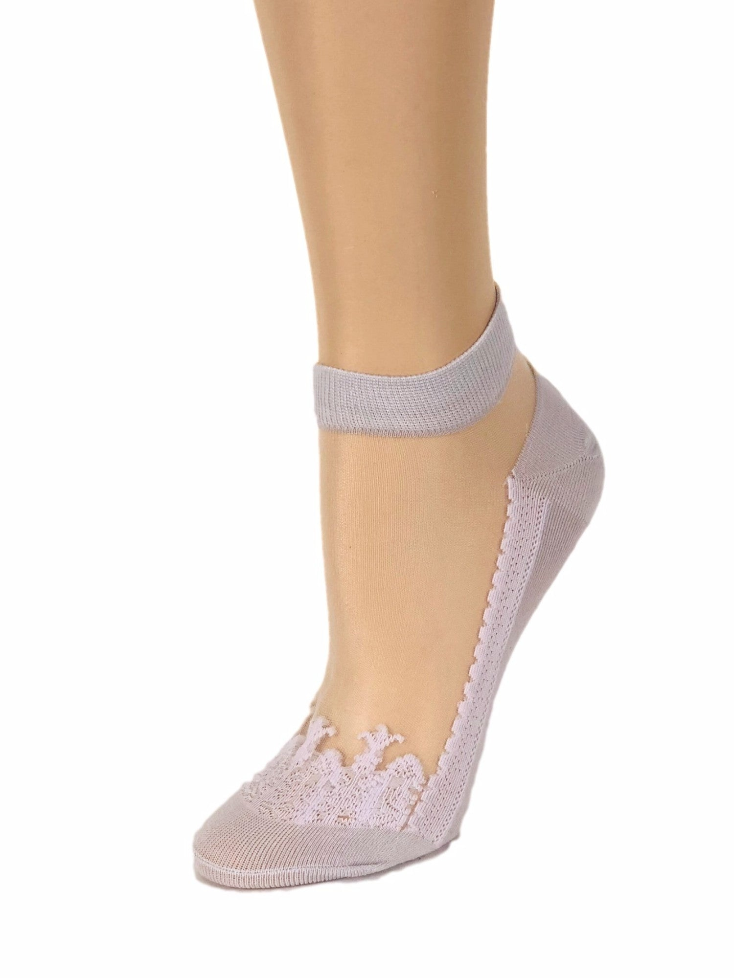Cream Grey Ankle Sheer Socks - Global Trendz Fashion®