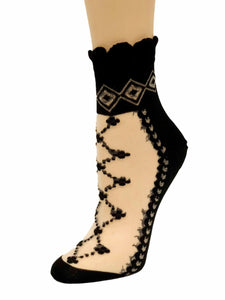 Zig-Zag Black Sheer Socks - Global Trendz Fashion®