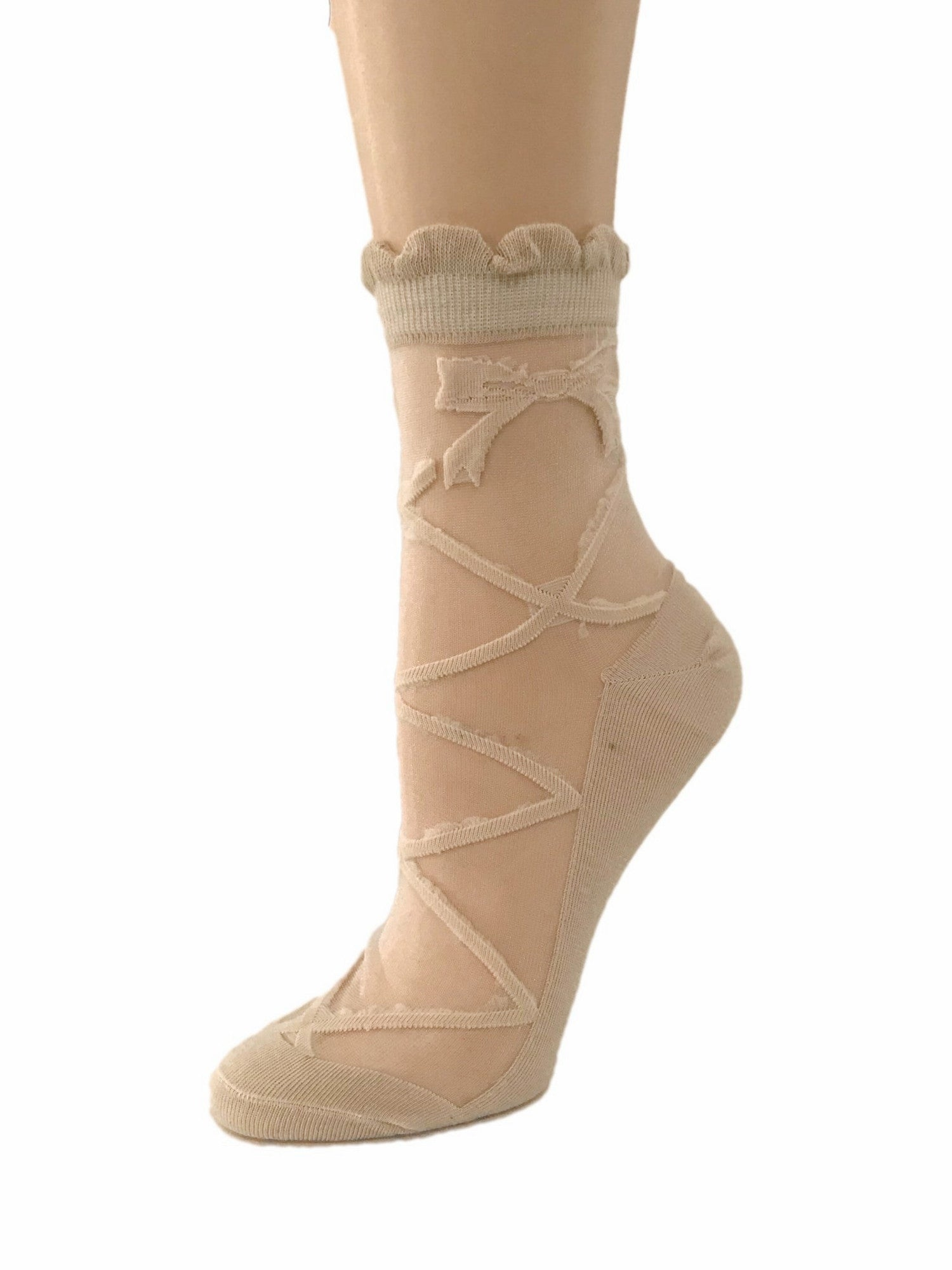 Furry Beige Bow Sheer Socks - Global Trendz Fashion®
