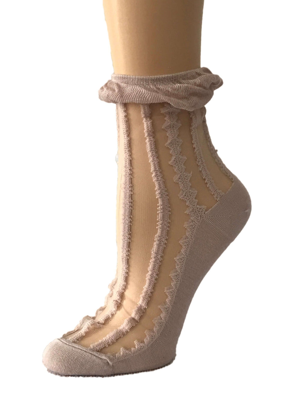 Tea Pink Frill Sheer Socks - Global Trendz Fashion®