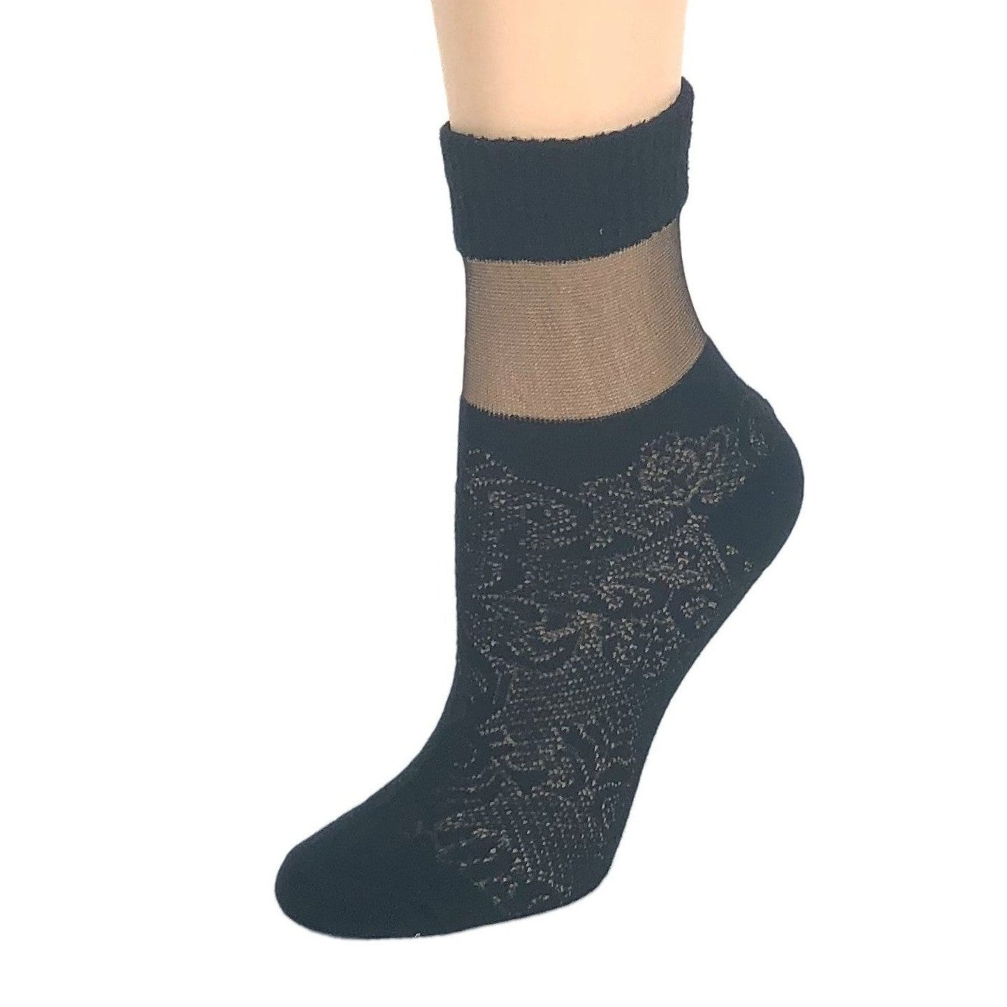 Carving Black Sheer Socks - Global Trendz Fashion®