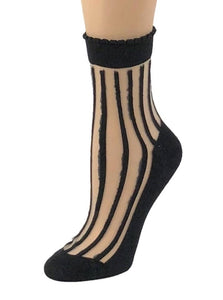 Midnight Black Striped Sheer Socks - Global Trendz Fashion®
