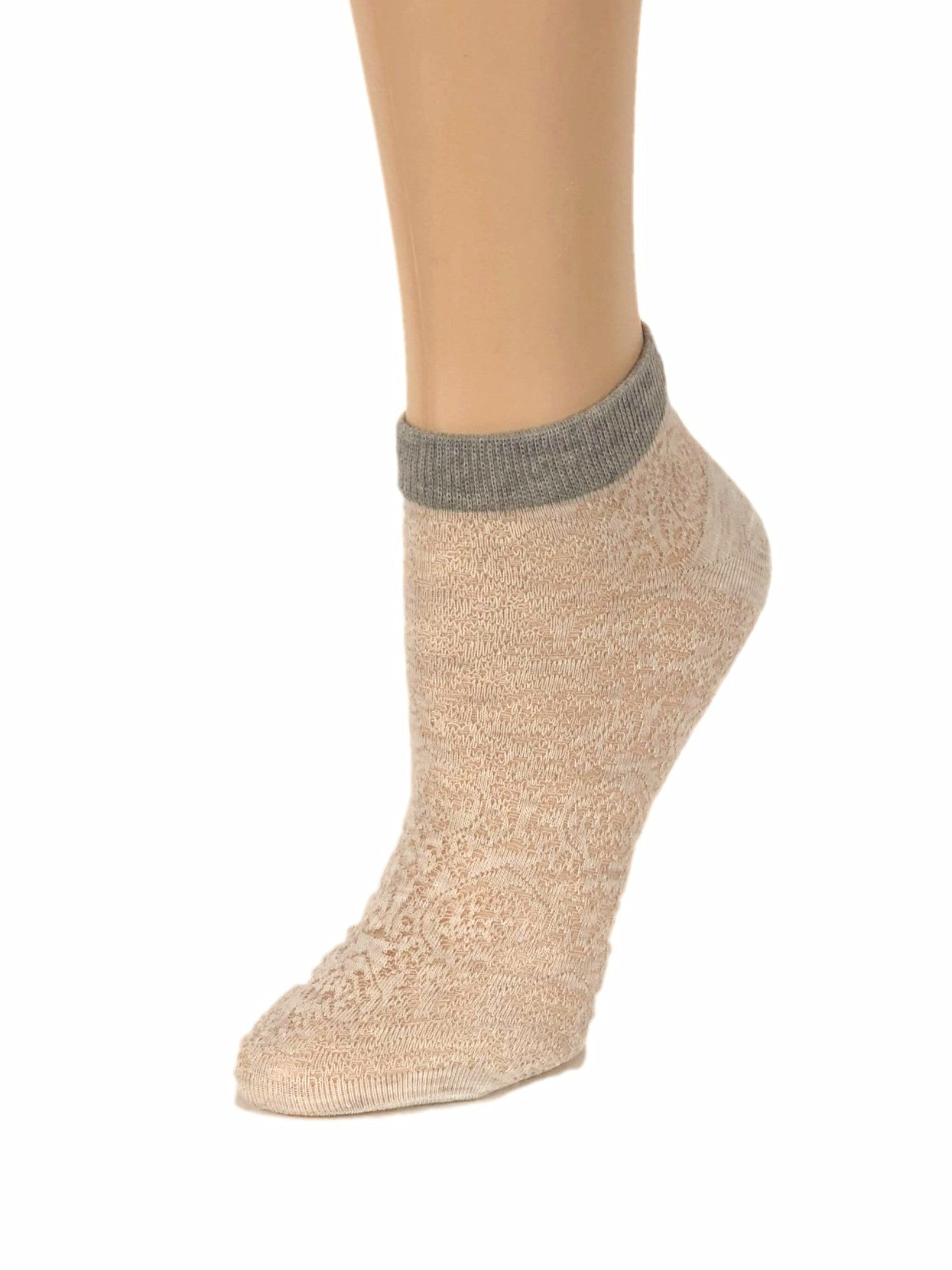 Grey-Stripped Cream Ankle Sheer Socks - Global Trendz Fashion®
