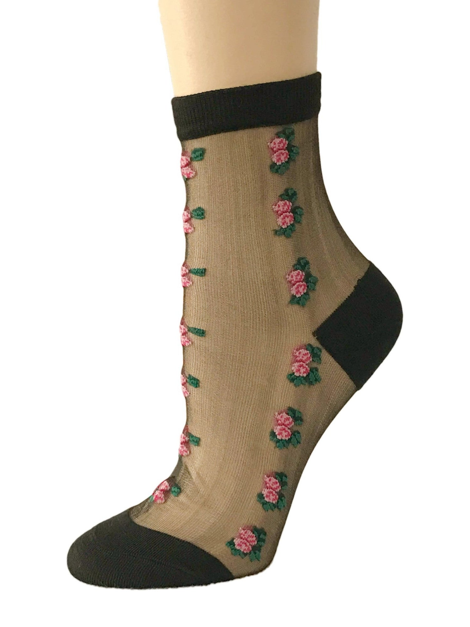 Vertical Pink Flowers Sheer Socks- Global Trendz Fashion®