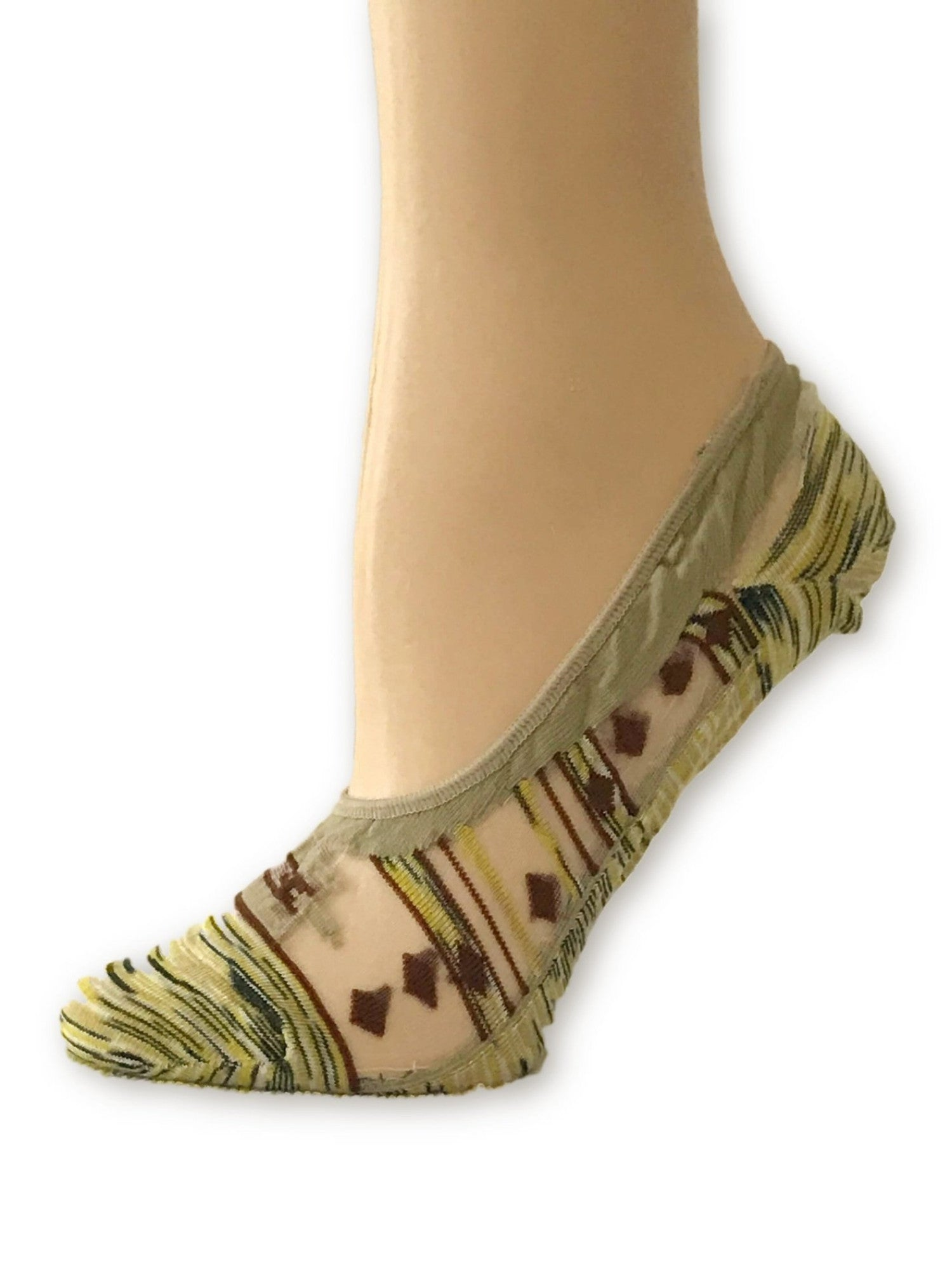 Yellow/Brown Patterned Ankle Sheer Socks - Global Trendz Fashion®