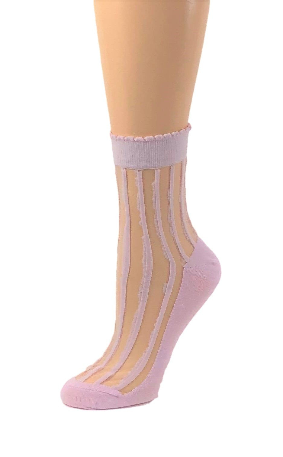 Purple Striped Sheer Socks - Global Trendz Fashion®
