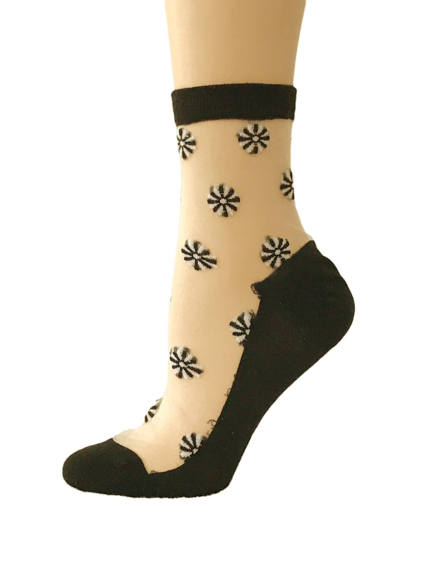 Black/White Flowers Sheer Socks - Global Trendz Fashion®