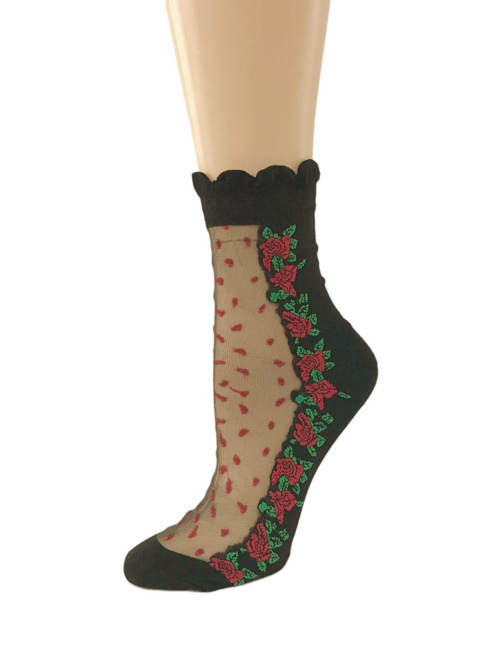 Multi Red Roses Sheer Socks-Global Trendz Fashion®
