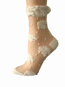 Dazzling White Roses Sheer Socks - Global Trendz Fashion®