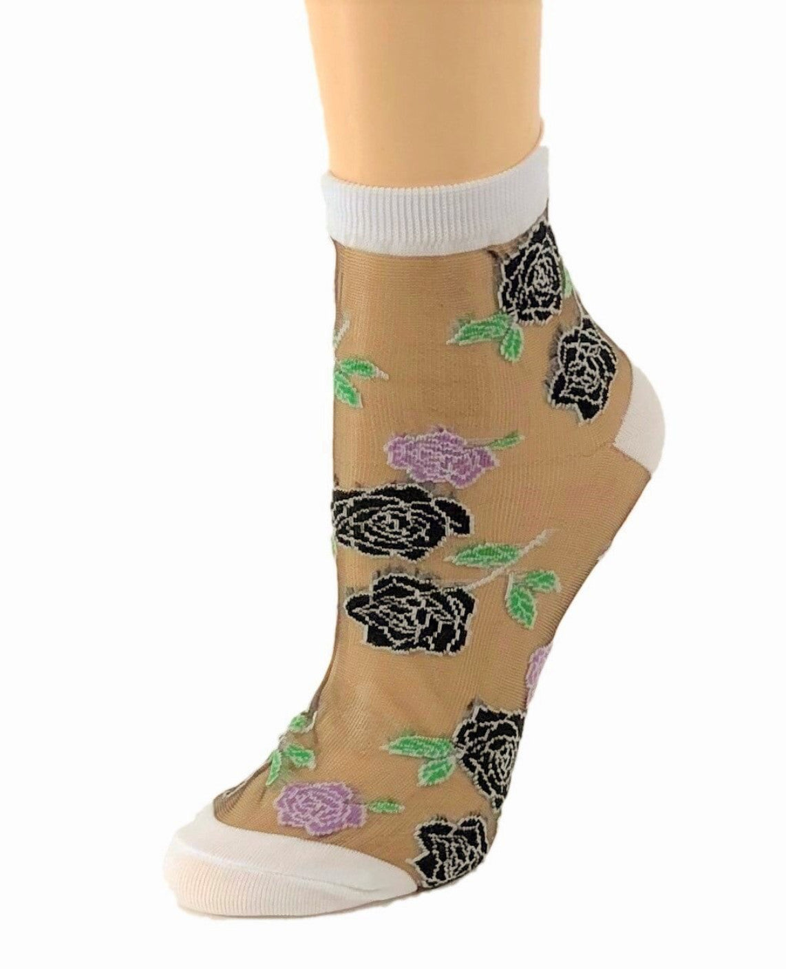 Sharp Black Roses Sheer Socks - Global Trendz Fashion®
