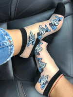 Gorgeous Blue/White Roses Sheer Socks - Global Trendz Fashion®
