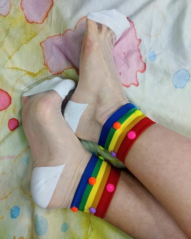 Multi Color Striped Custom Sheer Socks with beads - Global Trendz Fashion®