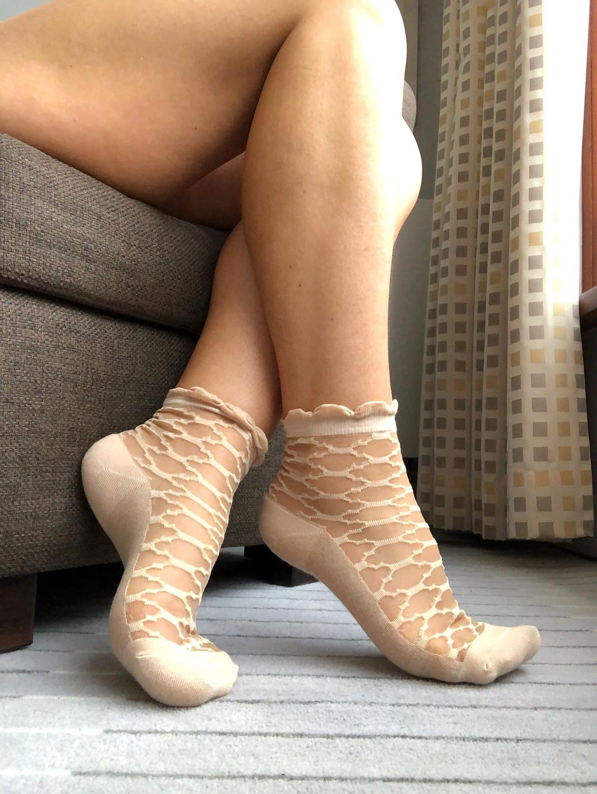 Pentagon Beige Sheer Socks - Global Trendz Fashion®