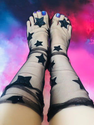 Black Stars Tulle Socks - Global Trendz Fashion®
