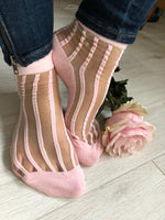 Sharp Pink Striped Sheer Socks - Global Trendz Fashion®
