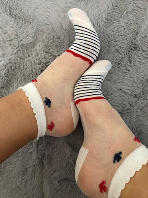 Red Blue Striped Sheer Socks - Global Trendz Fashion®