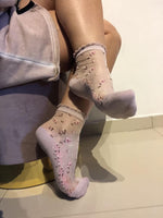 Small Pink Flowers Sheer Socks-Global Trendz Fashion®