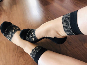 Navy Embroidery Sheer Socks - Global Trendz Fashion®
