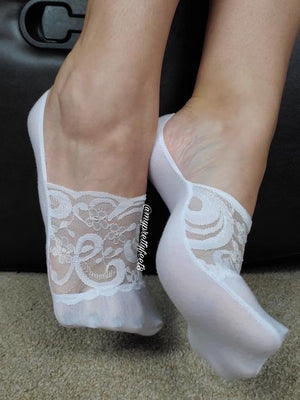 Exotic White No Show Sheer Socks