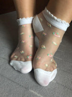 Frosted White Ankle Sheer Socks - Global Trendz Fashion®