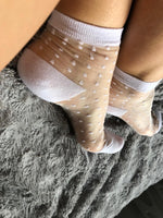 Milky White Dotted Sheer Socks - Global Trendz Fashion®