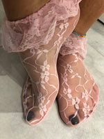 Rose Pink Mesh Socks with edging lace