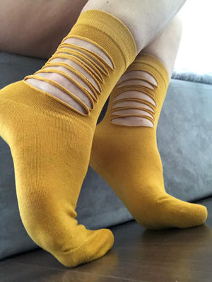Ripped Mustard Cotton Socks - Global Trendz Fashion®