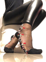 Mini Pink/Red Flowers Sheer Socks - Global Trendz Fashion®