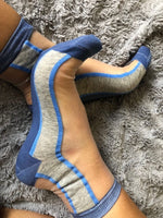 Blue Grey Striped Sheer Socks - Global Trendz Fashion®