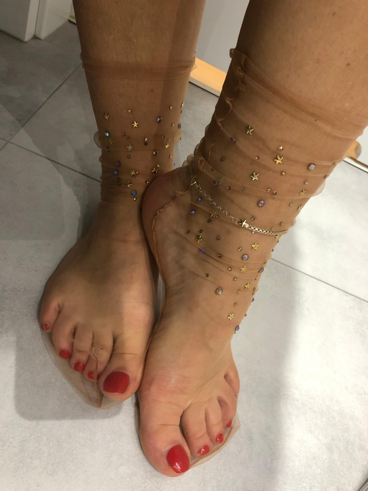 Elegant Tulle Socks with crystals - Global Trendz Fashion®