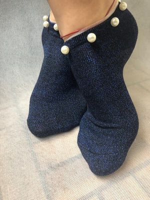 Stunning Pearls Sea Blue Glitter Socks - Global Trendz Fashion®