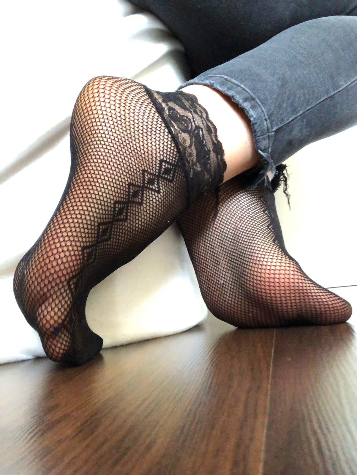 Spiral Black Mesh Socks