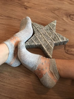 Dazzling Grey Dotted Ankle Sheer Socks - Global Trendz Fashion®