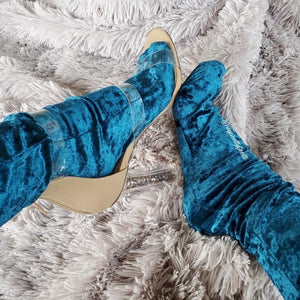 Navy Blue Crushed Velvet Socks - Global Trendz Fashion®