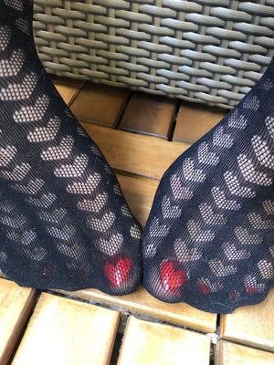 Hearts Black Mesh Socks - Global Trendz Fashion®