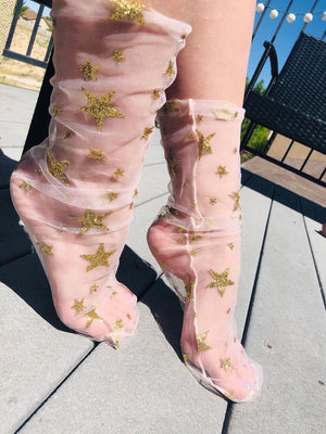 Gold Stars Tulle Socks - Global Trendz Fashion®