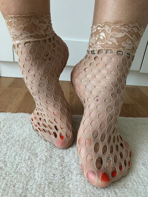 Nick Beige Mesh Socks - Global Trendz Fashion®