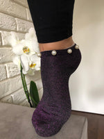 Stunning Pearls Purple Glitter Socks - Global Trendz Fashion®