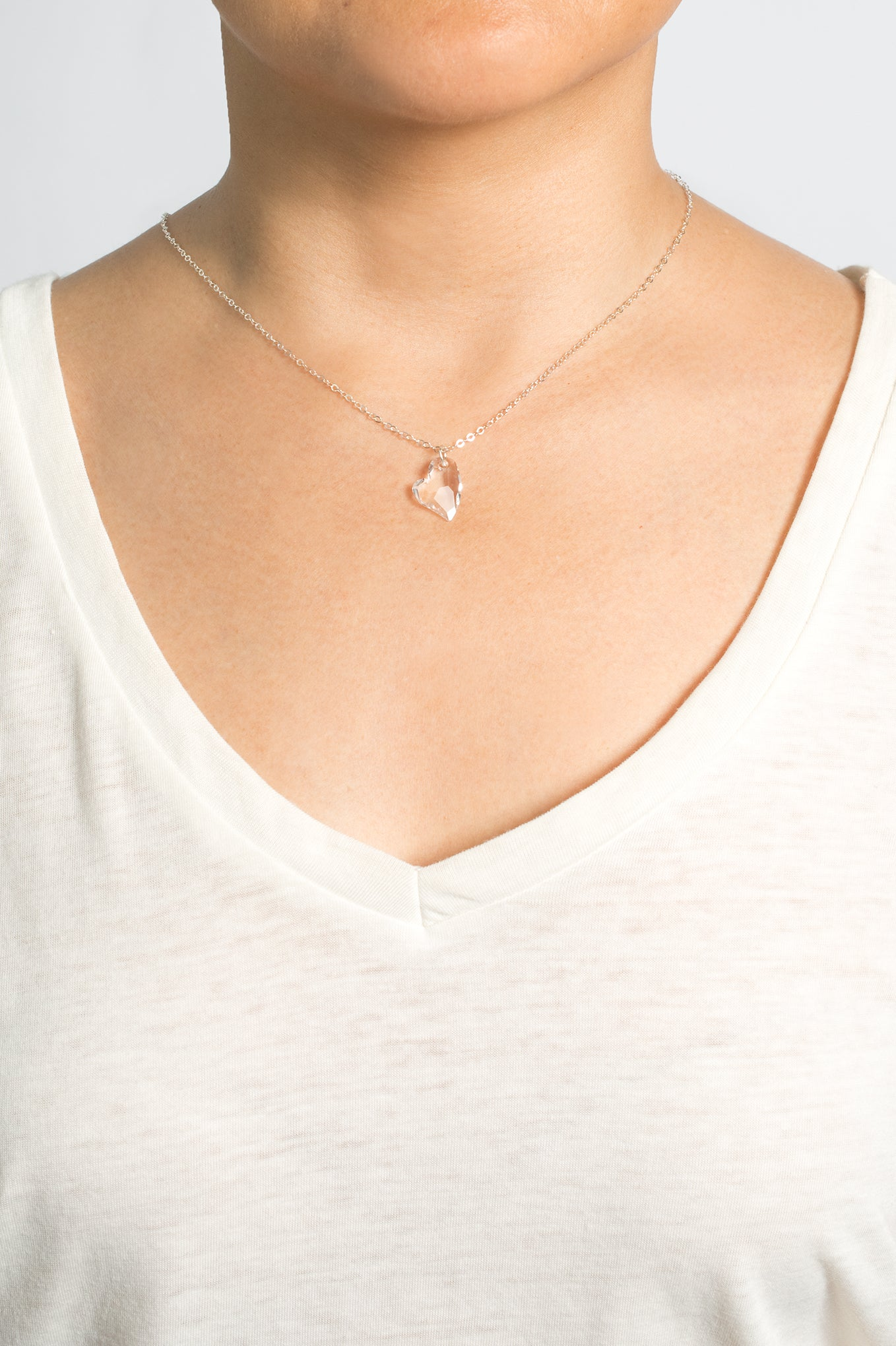 Pure Heart Swarovski Crystal Necklace (Silver)