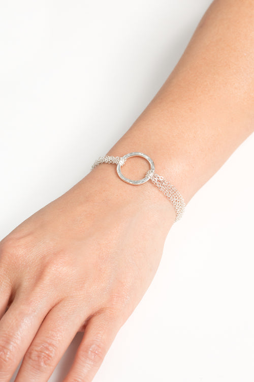 Multistrand Love is All Encompassing Silver Bracelet