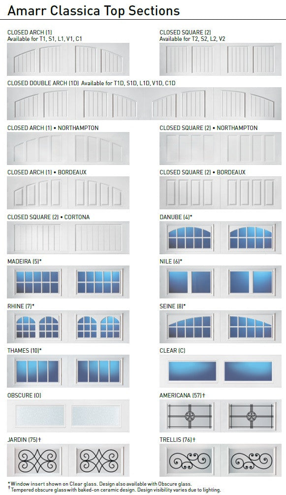 Amarr Classica Garage Door Window Option
