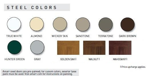 Amarr garage Doors Color Chart