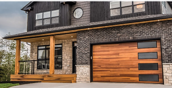 shown in cedar woodtones with optional black window frames and right stacked windows with obscure glass
