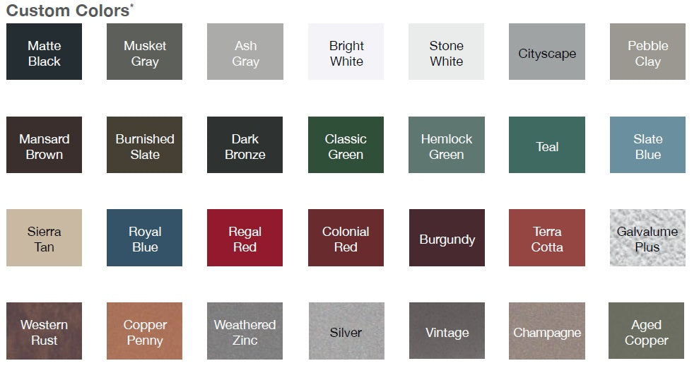 CHI garage Doors Custom Color Chart