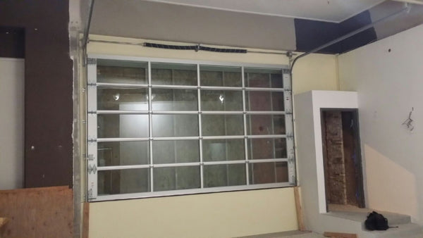 Full View Modern Anodized Aluminum & Clear Tempered Glass Garage Door