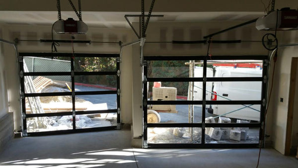 Contemporary Aluminum & Clear Tempered Glass Garage Door