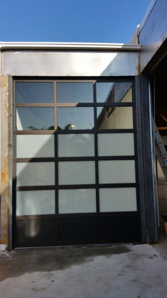 Contemporary Black Aluminum & White Laminate (Privacy) Glass Garage Door