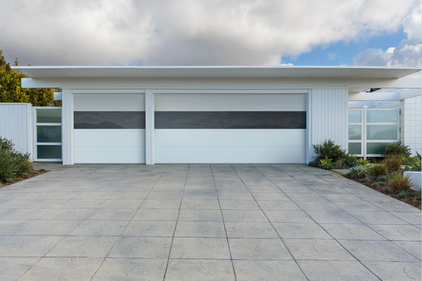 Infinity flush panel smooth steel garage door with for Flush panel wood garage door