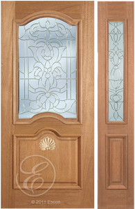 Adriel - One Side Raised Moulding Mahogany Wood Exterior Door with Beveled Glass